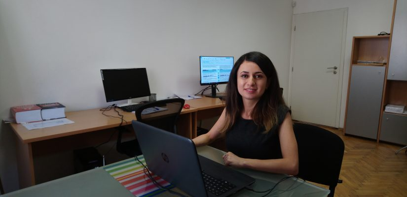 A picture of the student Karina Arzumanyan in her place of work