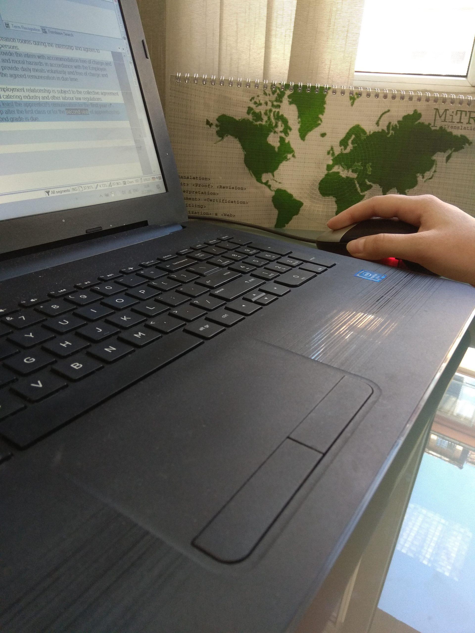 Student Halyna Maslak workign on her laptop