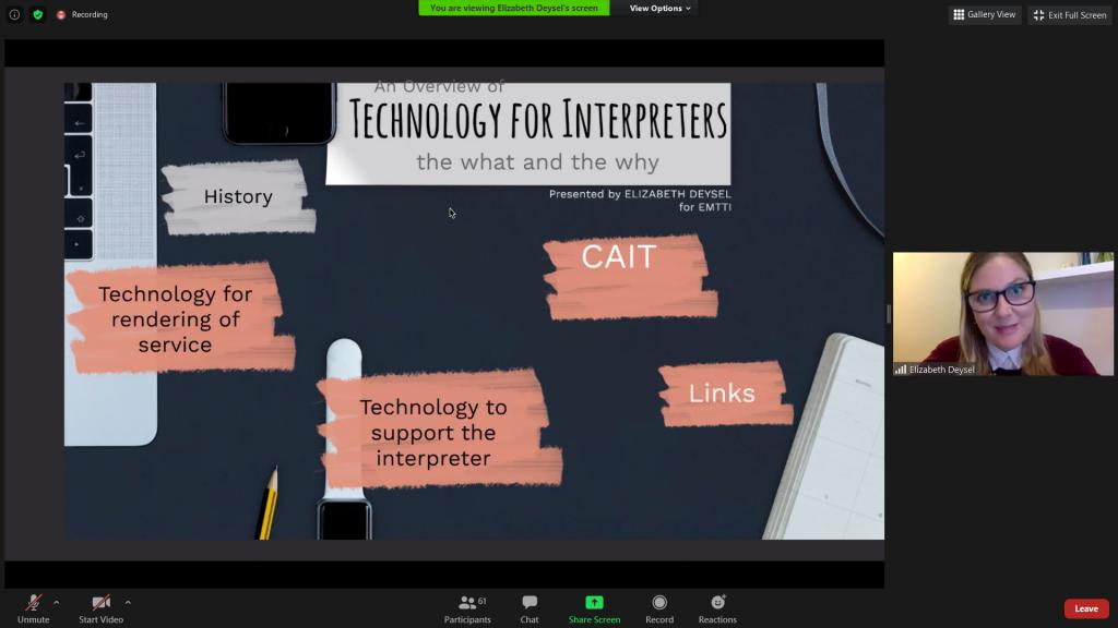 Screenshot of Elizabeth Deysel's presentation