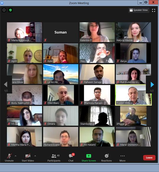 Screenshot of participants for 23 Oct 2020