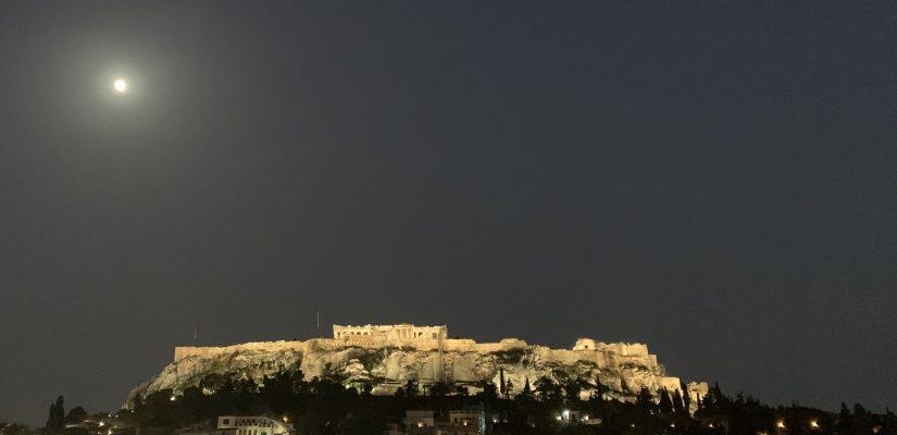 Athens skyline at night